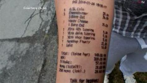 mcdonalds receipt tattoo loses bet tattoos mcdonald s receipt on arm kplr11