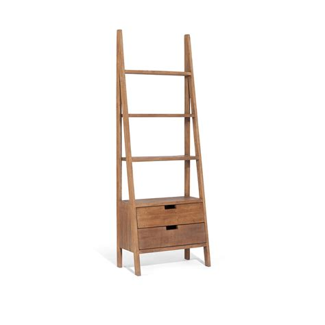 Sumatra Ladder Bookcase With Drawers Mysmallspace Ladder Bookcase Uk