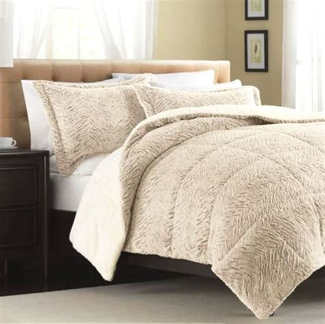 fur bedding sets tan cream faux mink full queen comforter exotic plush