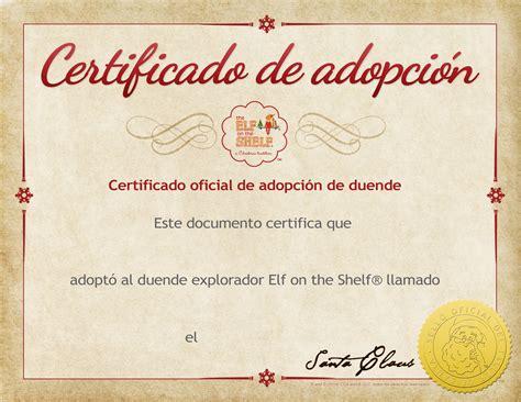 certificado de adopcion elf   shelf certificado