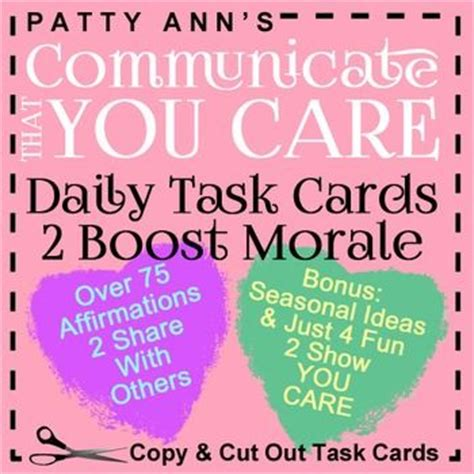 Task Cards Template For Affirmations by Task Cards The Community And Morals On
