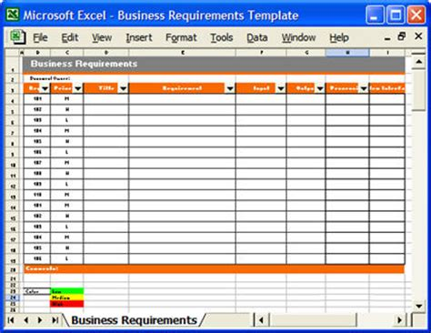Business Requirements Template Instant Download Requirements Gathering Template Excel