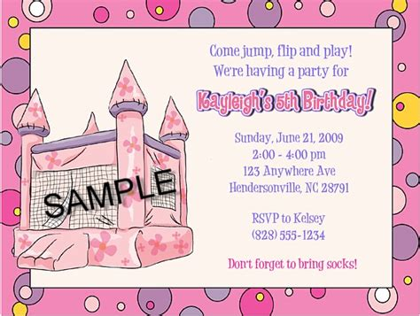 Bounce House Castle Inflatable Birthday Party Invitations Bounce House Kids Birthday Free Bounce Invitation Template