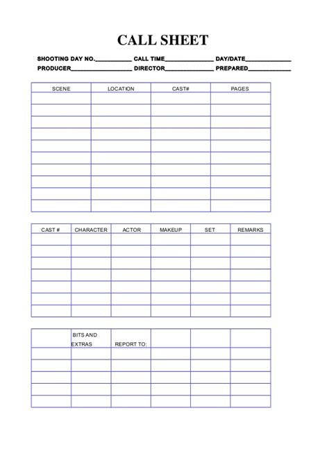 Call Sheet Template Helloalive Free Call To Templates
