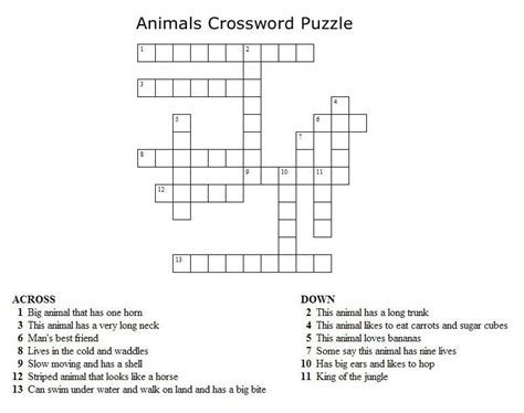 easy crossword puzzles worksheets kids crossword puzzles print your animals crossword