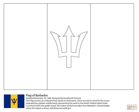 Flag Of Barbados Coloring Page Free Printable Coloring Pages Central America Caribbean Flags Coloring Pages