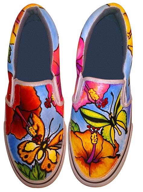 butterfly hibiscus custom painted shoes painting by adam