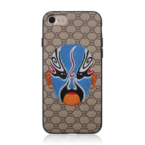 web pattern protective case for iphone 8 7 animal embroidery chinese opera mask