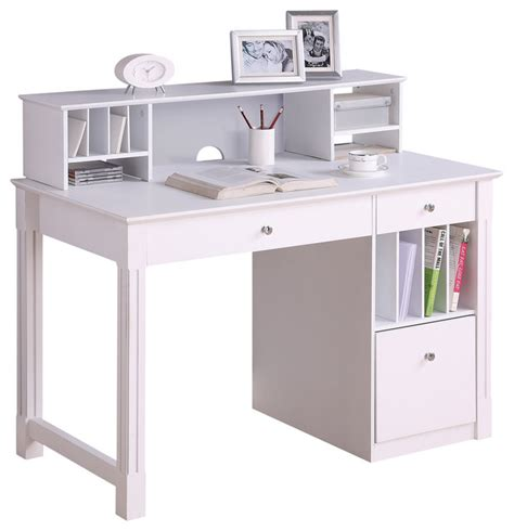 deluxe white wood computer desk with hutch white with