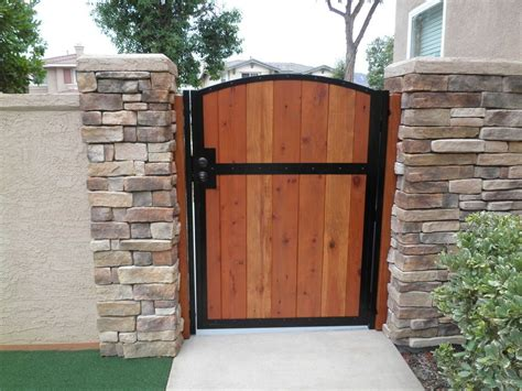 wooden gate solid redwood metal contemporary iron garden