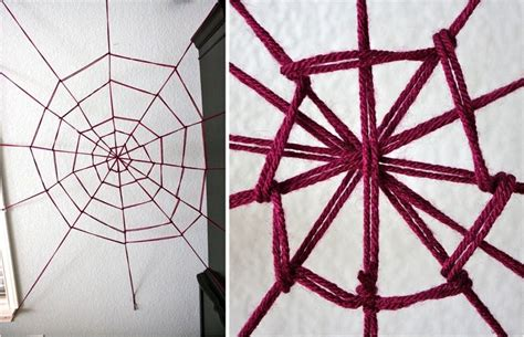 wool pattern webs diy halloween decorations spooky spider web and a giant