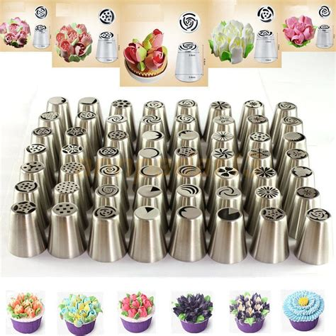 decoration tips 56 pcs russian flower icing piping nozzles cake decoration