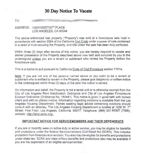30 day notice to vacate california template 30 day notice to vacate template real estate forms