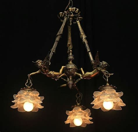 Vintage Bronze French Shabby Flying Chic Cherub Chandelier Antique Cherub Chandelier