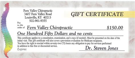 dental gift certificate template fern valley chiropractic chiropractor in louisville ky