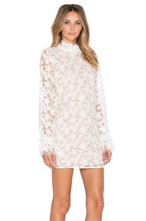 Sleeve Ruffle Lace Dress lyst alanis ruffle sleeve lace dress in white