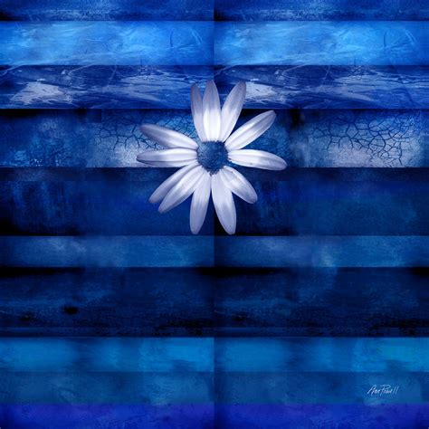 blue and white painting white daisy on blue abstract art digital art by ann powell