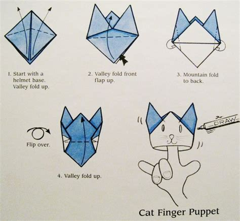 Origami Finger Puppets - cat finger puppet origami central
