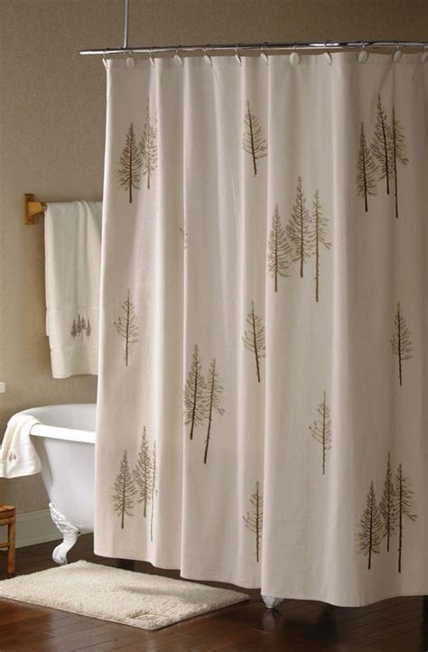pine tree curtains embroidered pine tree forest fabric shower curtain lodge