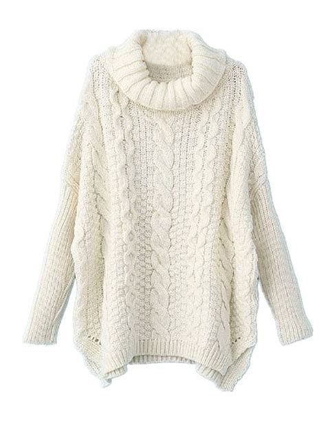 white cable knit sweater womens knit sweater sheinside white sleeve