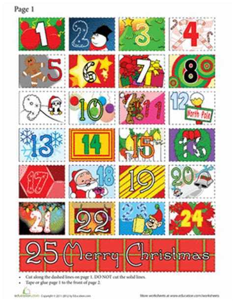 paper advent calendar template worksheets education