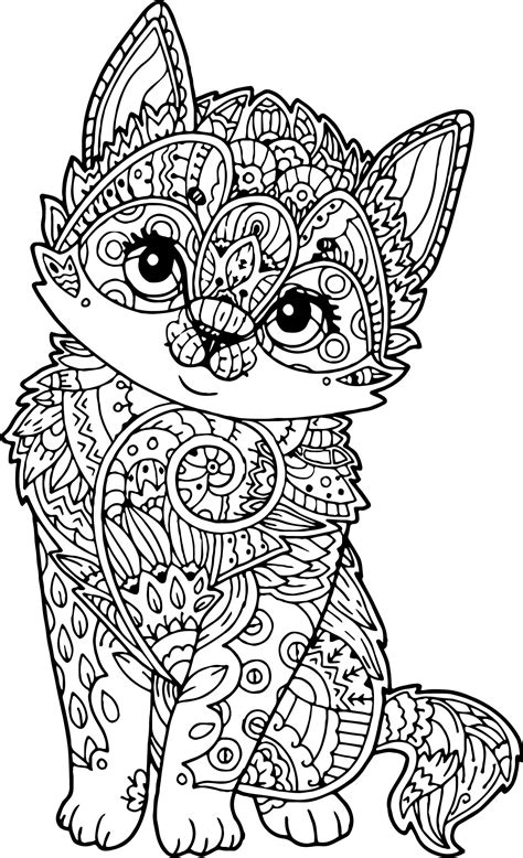 cat mandala coloring page puppy pages for adults coloring pages