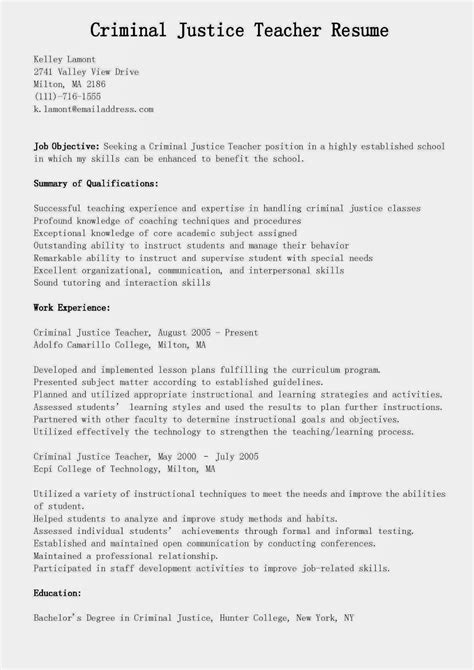 resume sles criminal justice teacher resume sle