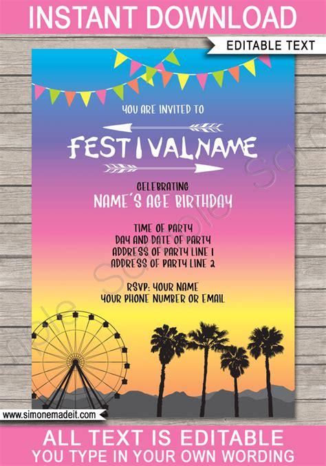 Coachella Party Invitations Template Printable Coachella Inspired Invite And Invite Template