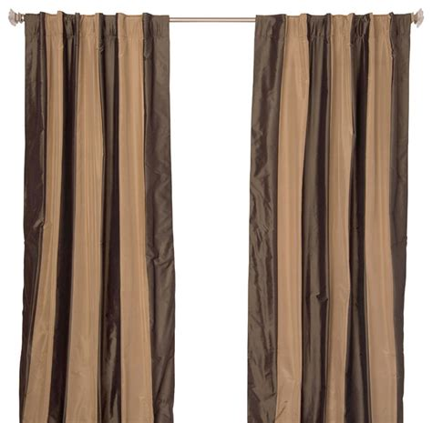 Beige And Black Curtains Silk Taffeta Black And Beige Stripe Curtain Panel Contemporary Curtains By Indias Heritage