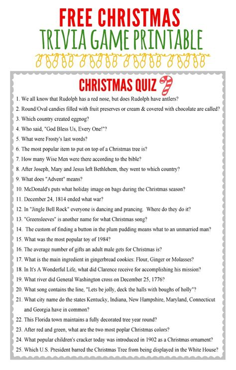 free printable christmas table games free christmas trivia game