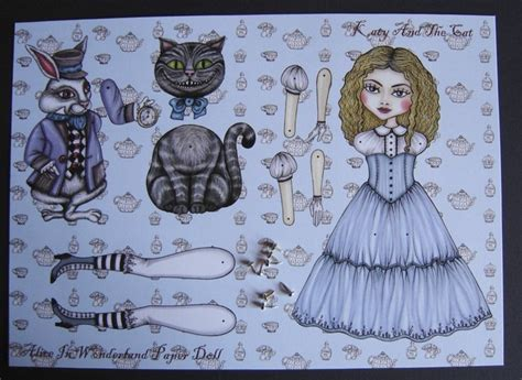 alice in wonderland articulated pap alice in wonderland articulated paper doll white rabbit