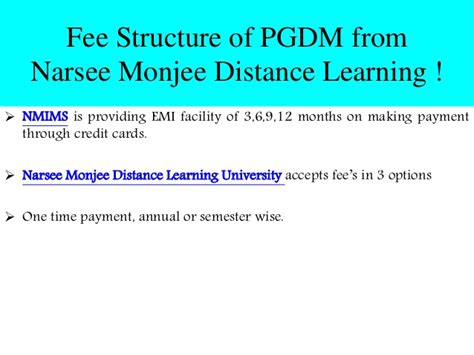 Narsee Monjee Distance Mba Fees by Post Graduate Diploma In Business Management From Narsee