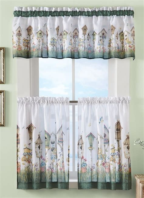 3 pc flowers birds kitchen bath window curtains
