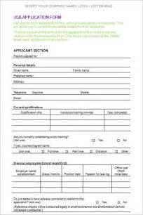 Employment Application Word Template by Employment Application Form Template Free Word Pdf