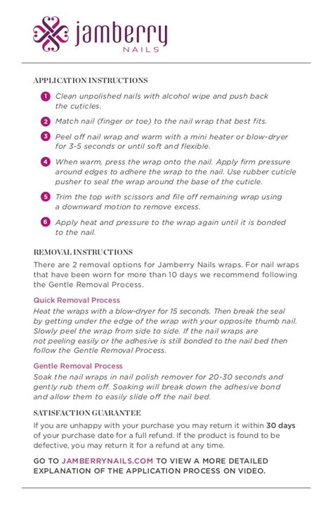 Printable Jamberry Instructions | application instructions for jamberry nails english