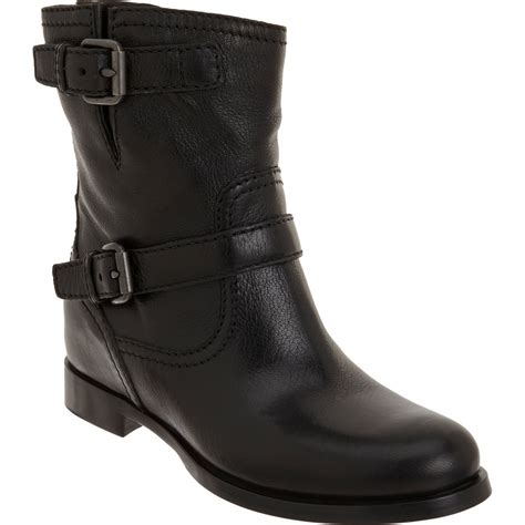 prada wedge moto ankle boot in black lyst