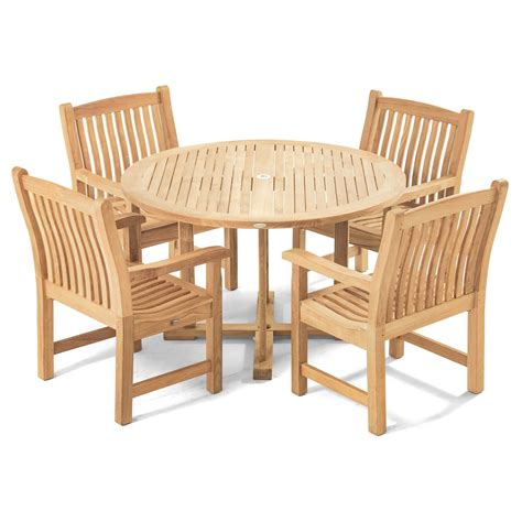 Veranda 4 Ft Round Dining Set Westminster Teak Outdoor Teak Steamer Lounge Chair Cushions