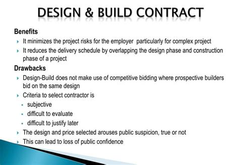 how do design and build contracts work ppt application of epc bot ppp contracts powerpoint