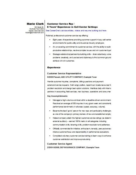 Resume Exles For A Customer Service Sle Resume For Customer Service Representative