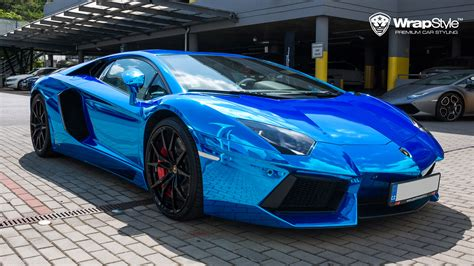 blue chrome lamborghini wrapstyle premium car wrap car dubai chrome