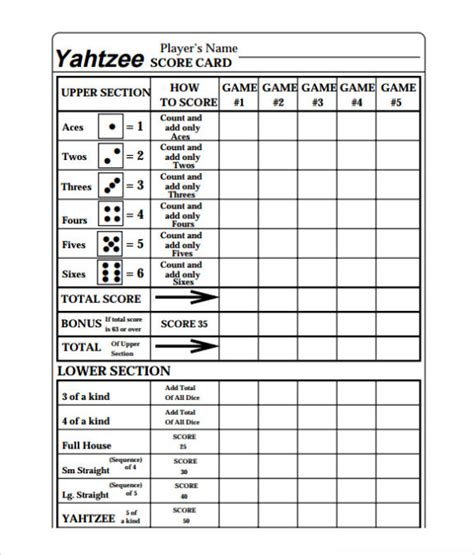 yahtzee card template free printable yahtzee score sheets card calendar