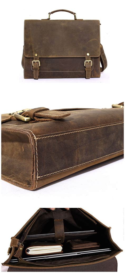 Handcrafted Leather Briefcase - handcrafted rustic leather laptop bag business briefcase