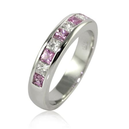bentley pink diamonds wedding rings princess cut pink sapphire and