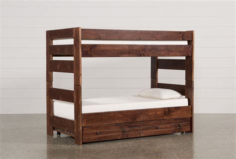 Sedona Twin Twin Bunk Bed W Trundle Mattress Living Spaces Bunk Bed W Trundle