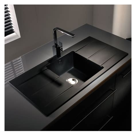 double drainer kitchen sinks abode zero 1 0 bowl double drainer granite sink sinks