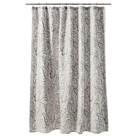 gray and coral curtains threshold paisley shower curtain gray coral bathroom