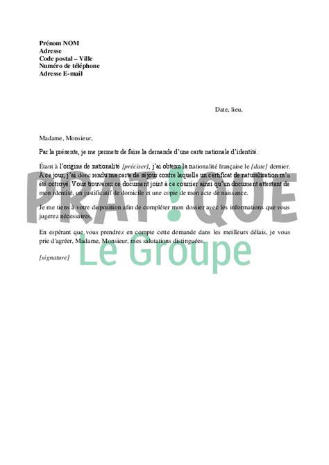 Demande De Naturalisation Française Lettre Lettre De Demande De Carte Nationale D Identit 233 Apr 232 S