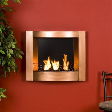 copper finish wall mount gel fuel fireplace burns clean to