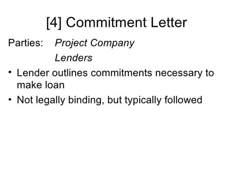 Commitment Letter Binding financial and contractual structure of construction projects