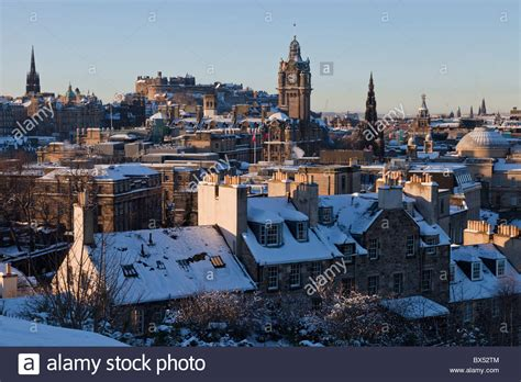roof top bar edinburgh edinburgh rooftop cityscape in snow on a cold winter